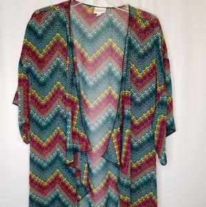 LuLaRoe Monroe Kimono Fringe Zigzag L